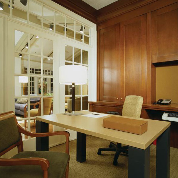 Studio Santalla designed custom office furniture for the marketing office of this Washington, DC area apartment complex