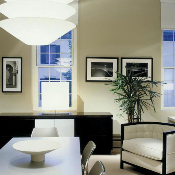 A custom designed credenza completes the meeting area of Washington, DC architecture firm, Studio Santalla