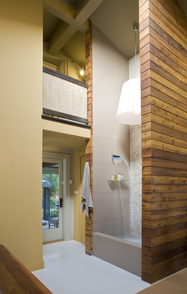 Studio Santalla designed the two story, cedar wrapped shower for this luxurious, sustainable home spa bathroom in Washington, DC