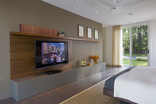 Luxurious modern styled bedroom on the Eastern Shore by Washington, DC Architecture and Interior Design firm Studio Santalla