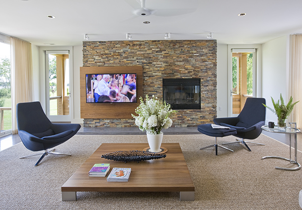 Contemporary Custom Designed Media Center And Fireplace On The Eastern Shore By Washington DC