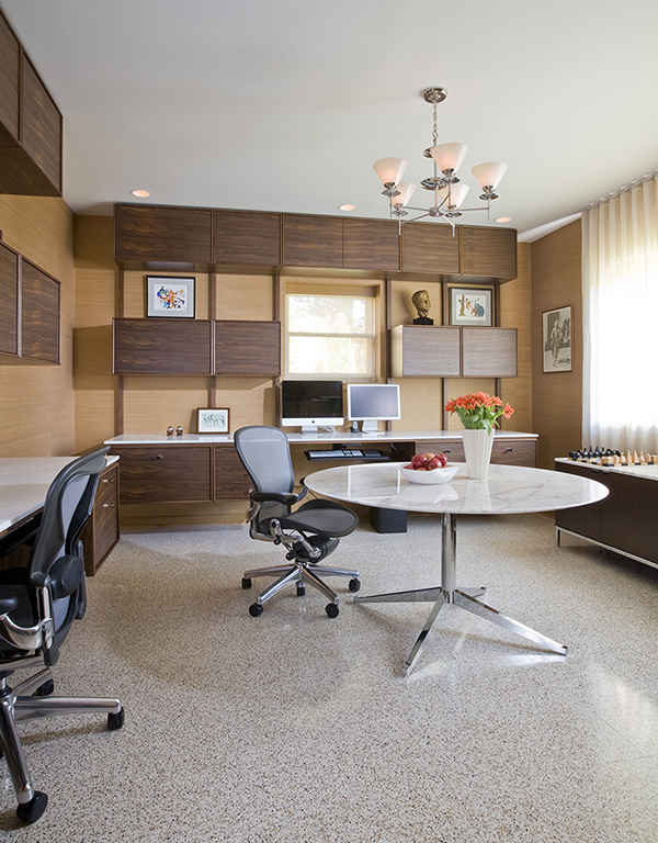 Custom Floating Desks Inspired By Midcentury Classics Provide Ample  Workspace For Two In This Basement Home