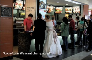 WEDDING RECEPTION AT MCDONALDS CAPTION