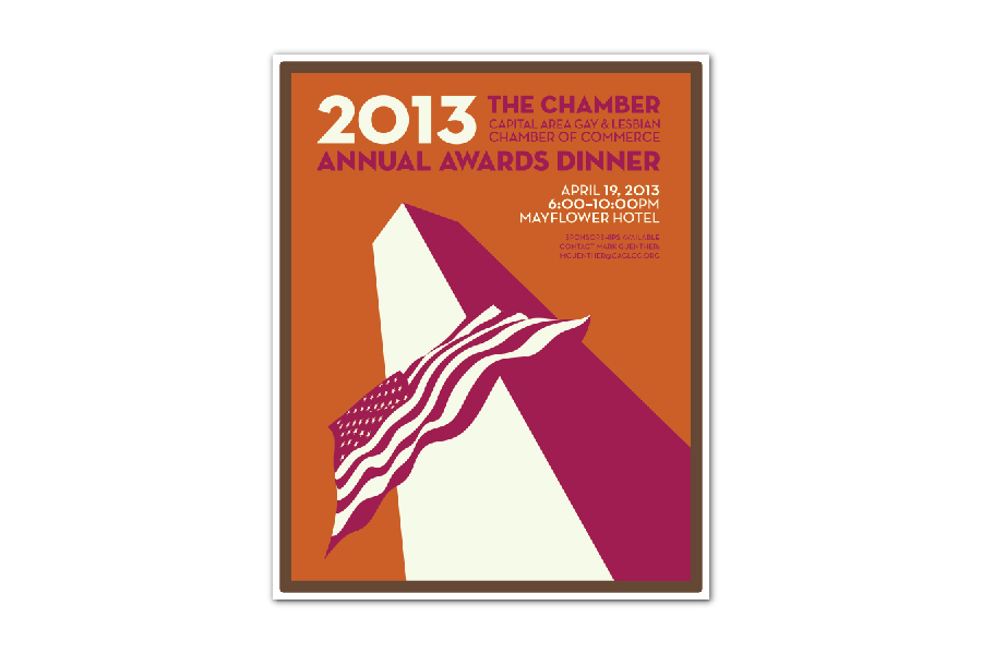Poster/Sign designed by Ernesto Santalla, PLLC—formerly Studio Santalla—for the CAGLCC's 2012 annual awards gala dinner in Washington, DC