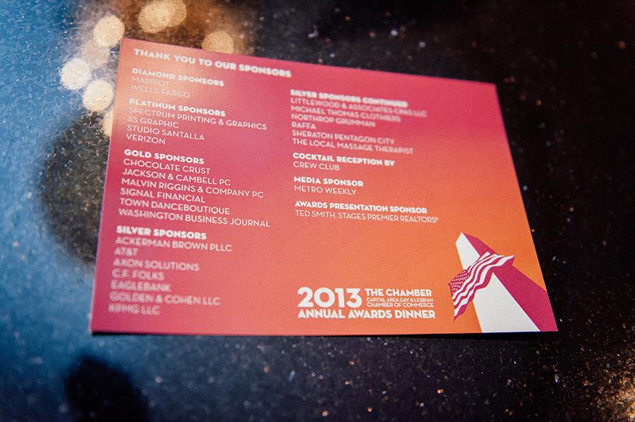 graphic designed by Ernesto Santalla, PLLC—formerly Studio Santalla—for the CAGLCC's 2012 annual awards gala dinner in Washington, DC