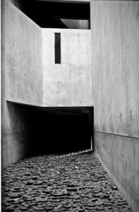 BERLINER JUDISCHES black and white photograph by architect Ernesto Santalla of Daniel Libeskind's Holocaust Museum installation