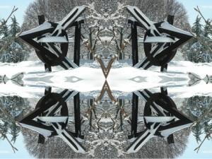 Fourth Impressions XV color photography collage by architect Ernesto Santalla celebrating winter snow in Washington, DC