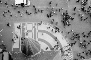 Praque, aerial black and white photograph by Ernesto Santalla