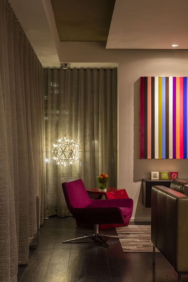 At night, the drapes can be closed to provide privacy and create an intimate setting
