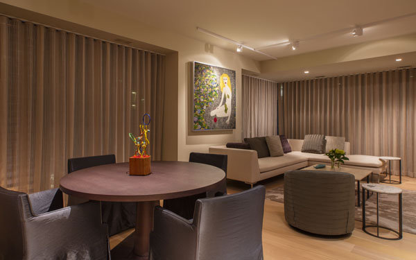 Elegant drapery provides privacy from the City Center plaza below.